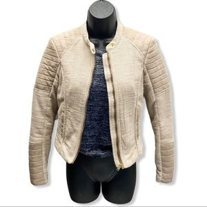H&M Cream Cotton blend Motorcyle Jacket Size 2